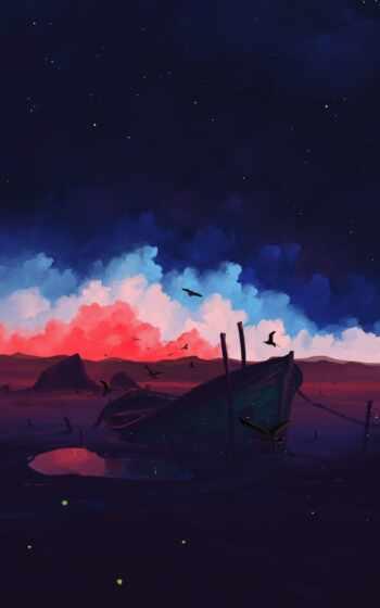 небо, art, облако, закат, природа, landscape, bisbiswa, artist, artwork, сумерки, дорога