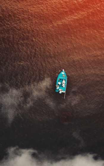 лодка, море, закат,