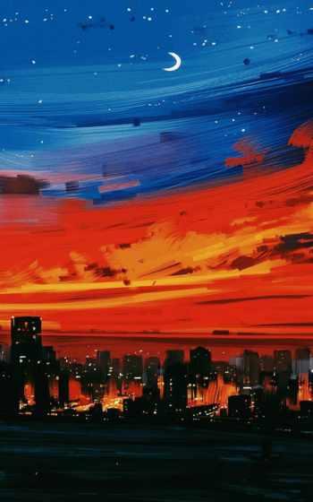 ,, небо, синий, красный, послесвечение, город, сумерки, оранжевый, вечер, облако, городской пейзаж,