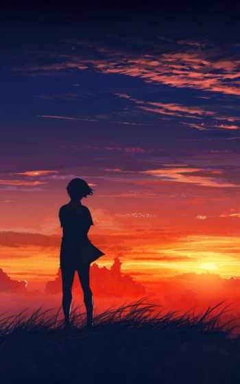 небо, девушка, закат