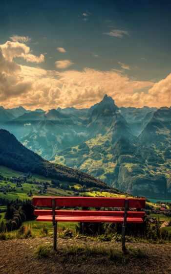 гора, облако, góry, tapety, училка, скамейка, природа, red, chmury