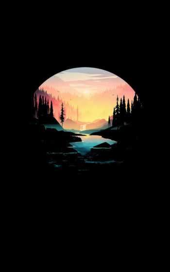 ,, небо, природа, закат, горизонт, дерево, пейзаж, темнота, отражение, ночь, рисунок,