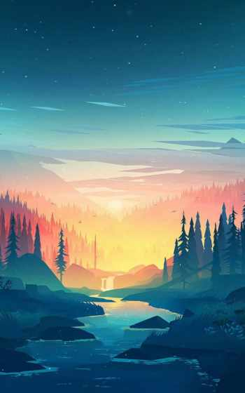 ,, природа, природный ландшафт, небо,  живопись, атмосфера, пейзаж, Аврора, акриловая краска, спокойствие,