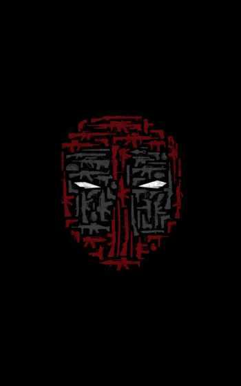 фон, минимализм, маска, оружие, deadpool,