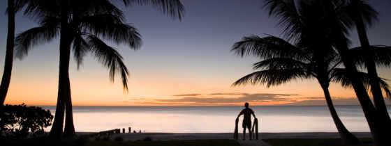 пальмы, море, закат, пляж, landscape, вечер, бунгало, силуэт,
