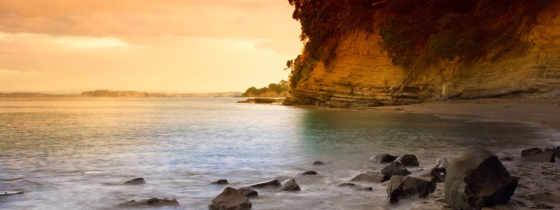 камни, море, берег, небо, water, закат, скалы, новая, zealand, reki,