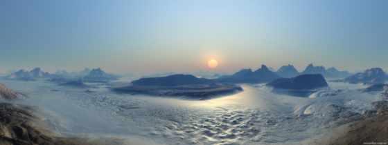 закат, рассвете, дорога, панорама, лед, пейзажи -, sun, рассвета, облаков, cvety, fountain,