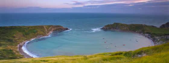 берег, небо, море, трава, bay, distance, горы, картинка,