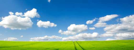 небо, дорога, трава, oblaka, traces, зелёный, поле,