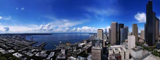город, города, купить, фотообои, небоскребы, seattle, комнат, заказать, стену, небо,