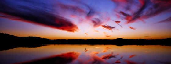 oblaka, вечера, вечер, пестрые, отражаются, котором, небо, разных, закат, water, озеро,