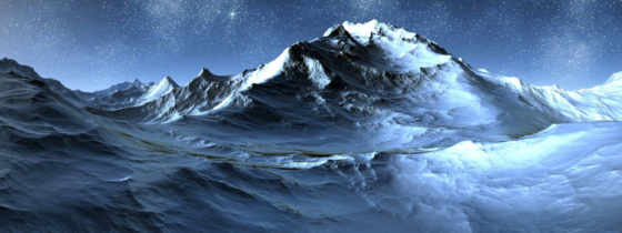 горы, снег, гора, winter, звезды, небо, ночь, ядерная, лань, лед,
