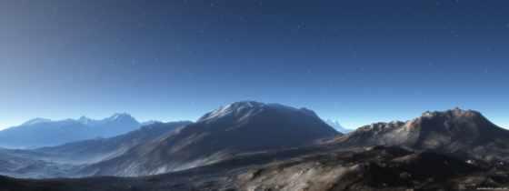 estrelado, landscape, céu, montanha, montanhas, landscapes, монитор,