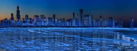 город, widescreen, dual, монитор, pictures, winter, озеро, ночь,
