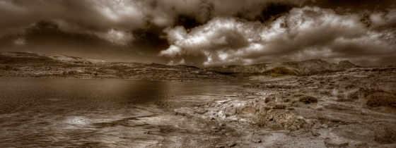 небо, тонах, коричневых, со, природа, банка, землёй, чёрно,