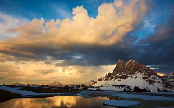 горы, закат, облака