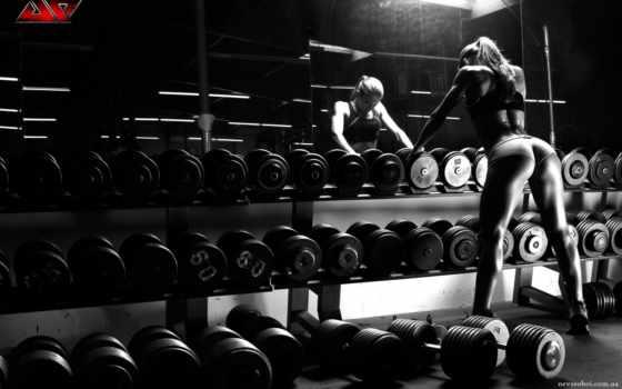 gym, фитнес, гантели