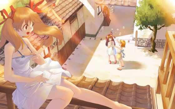 fun, anime, радость, мыльные, девушки, пузыри, дерево, ленточки, зелёный, крыша, платье, девушка, настроение,