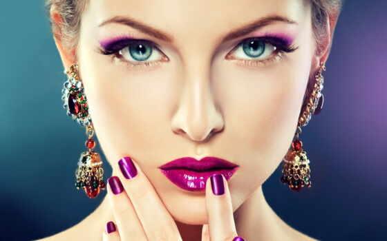 макияж, голубоглазая, лицо