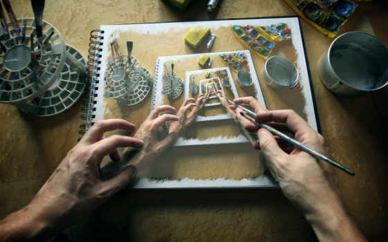 imagination, рисунок, руки,