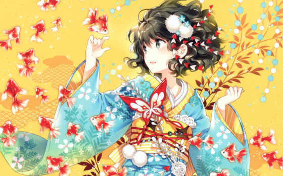 anime, кимоно, девушка, browse, art, бабочка, рыбки,