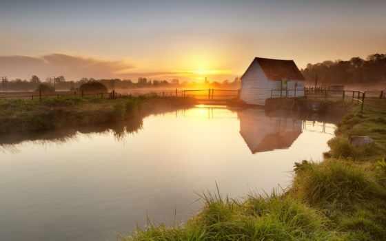 закат, пруд, озеро