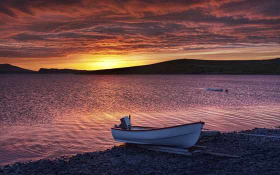 романтика, лодка, берег, горы, закат, рябь,