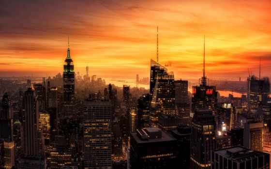 нью, york, new, огни, вечер, закат, сша, город,