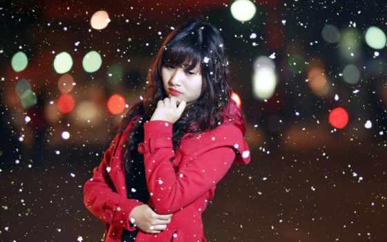 снег, девушка, stock