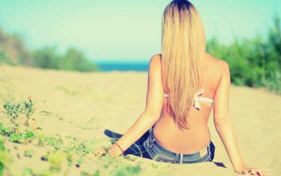 спины, девушка, блондинок