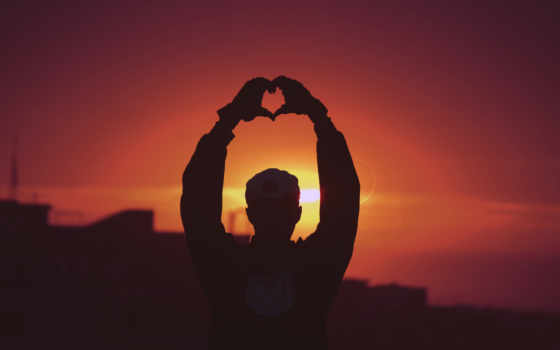 сердце, закат, силуэт, мужчина, hands,