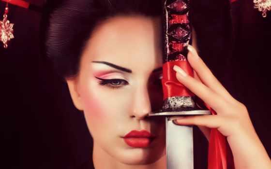 гейша, меч, макияж, самурай, макияжа, stock,