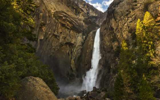 водопад, falls, yosemite, trees, природы, камни, сша, скалы, природа,
