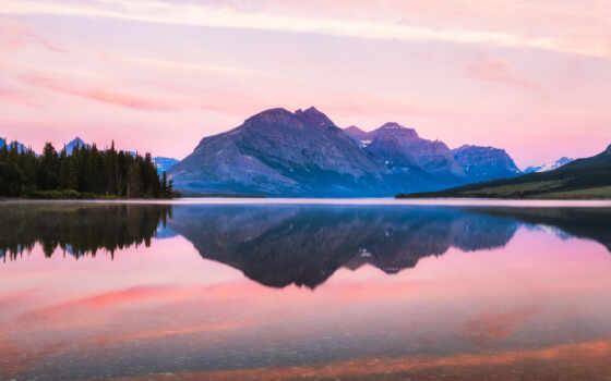 park, восход, national, glacier, природа
