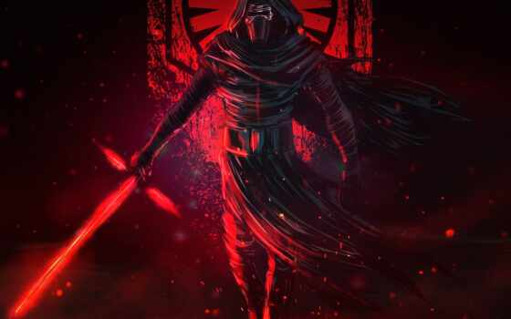 ren, lightsaber, war, star, kylo, меч, свет, art