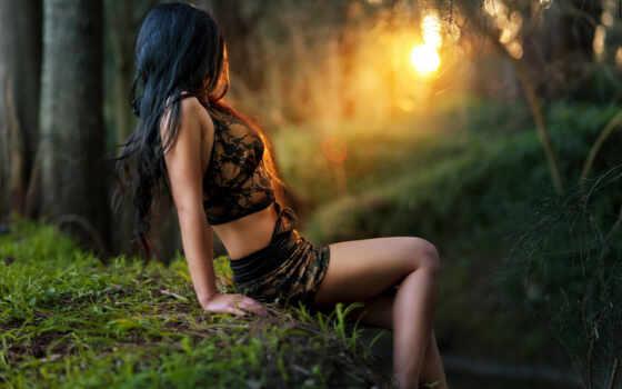 лесу, девушка, девушки, ищет,