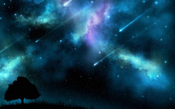 дерево, силуэт, небо, звезды, космос, закат,
