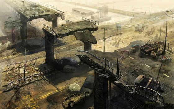 постапокалипсис, разруха, развалины, город, подробнее, корабль, мост,