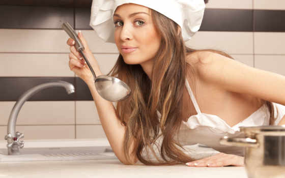 девушка, готовит, кухне, devushki,