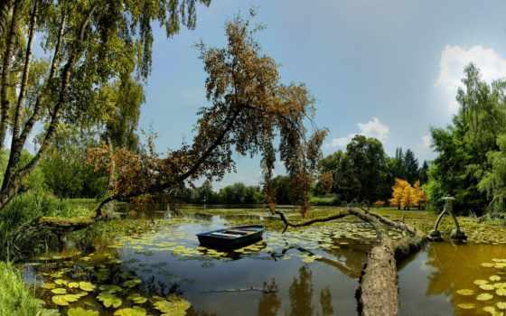 озеро, озере, лесное, лодка, озера,