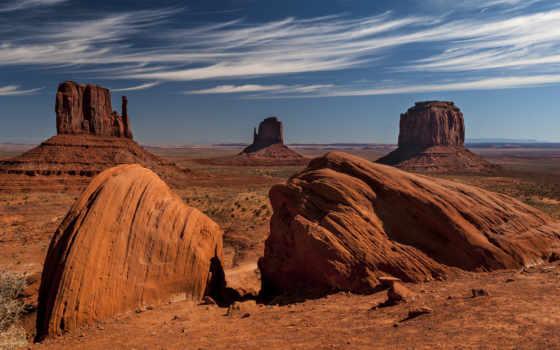 пустыня, скалы, небо