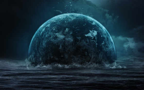 wqxga, тучи, darkness, star, planet, космос,