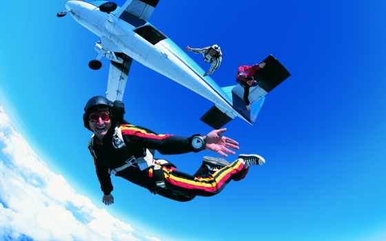 парашютом, вольтижировка, прыжок Фон № 91114 разрешение 2560x1600
