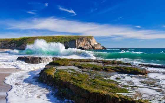 море, usa, california, ocean, небо, пляж, санта, davenport, elevation,