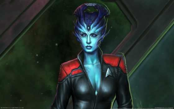 online, trek, star, девушка, alien, game, трехглазая, синяя,