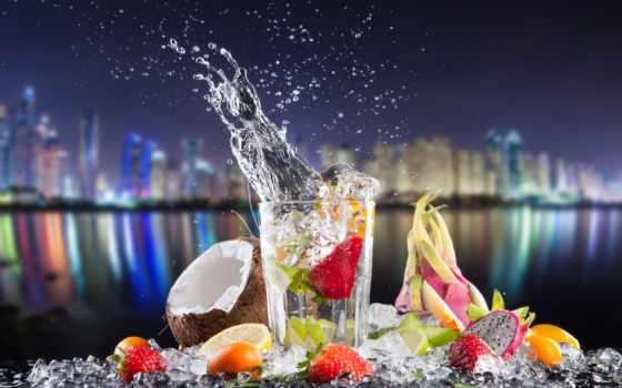 фрукты, коктейль, напитки, кокосы, еда, glass, лимоны, продукты, лед, брызги, диета,