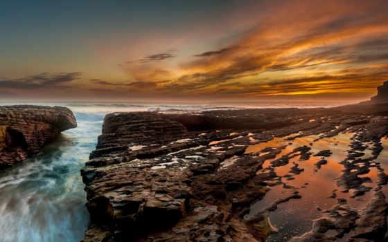 природа, море, камни, берег, красивые, bay, закат, шпалери, небо,