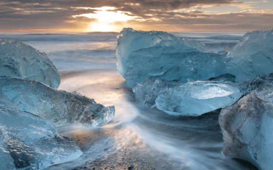 mobile, телефон, free, landscape, море, лед, закат,