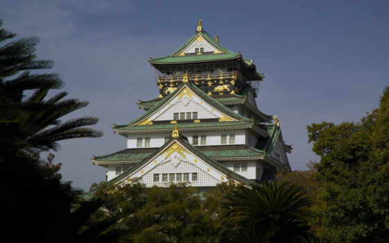 осака, castle, park, япония