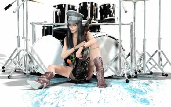барабаны, гитара, девушка